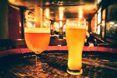 Two glasses of fresh beer — Stock Photo