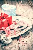 St Valentine's table setting with presents — Foto Stock