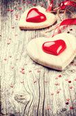 Decorative hearts in retro style — Stok fotoğraf