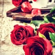 St Valentine's setting with coffee cup and roses — Stock Photo #63035615
