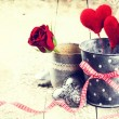 Decorative hearts and red roses — Stock Photo #63035663