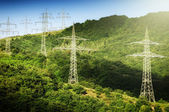High voltage transmission towers — Stock Photo