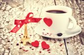St Valentine's setting with coffee cup — Stock Photo