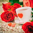 St Valentine's setting with coffee cup — Stock Photo #63549341