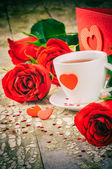 St Valentine's setting with coffee cup — Fotografia Stock
