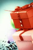 Stack of colorful gift boxes in retro style — Stock Photo