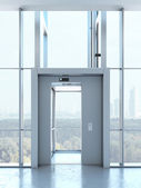 Transparent elevator in penthouse — Stock Photo