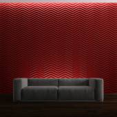 Sofa on red background — Stock Photo