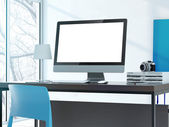 Computer on the table in modern studio — Stock Photo