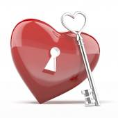 Silver key to the heart — Stock Photo