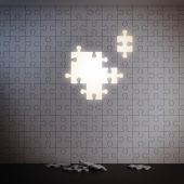 White puzzle wall without pieces — Stock Photo