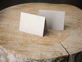 Two business cards on the stump — Stock Photo