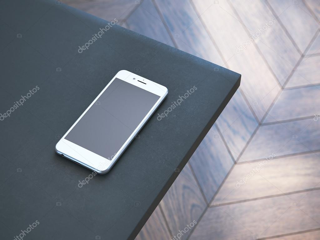 테이블의 모서리에 흰색 현대 스마트폰입니다. 3 차원 렌더링 ...