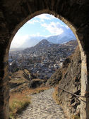 A view to the city of Sion from Chateau de Tourbillon — Stock Photo