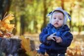 Wesoły, uśmiechnięty chłopczyk w parku jesień — Zdjęcie stockowe