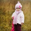 Cute little girl with pink umbrella in autumn park — Stock Photo #53344493