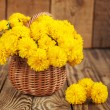 Beautiful bouquet of yellow chrysanthemums flowers in wicker br — Stock Photo #55154961