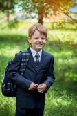 Male elementary school student with backpack on green background — Stock Photo