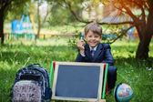 Portrait of cute school boy in the park, sunny day — Stock Photo