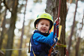 Happy little boy having fun outdoor, playing and doing activitie — Stock Photo