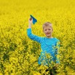 Young boy with paper airplane against blue sky — Stock Photo #73041815