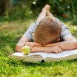 Cute school boy lying on a green grass who does not want to read the book. boy sleeping near books — Stock Photo #80531042