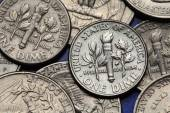 Coins of USA. US dime — Stock Photo