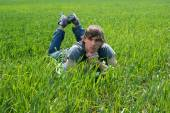 Young Man at the Green Grass — Photo