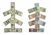 Money Christmas Trees — Stock Photo