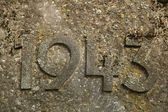 Year 1943 carved in the stone. — Stock Photo