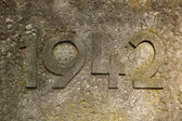 Year 1942 carved in the stone. — Stock Photo