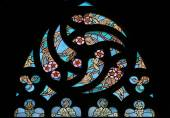 Art Nouveau floral pattern. Stained glass window. — Stock Photo