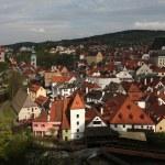 Krummau Castle over tiled roofs in Cesky Krumlov — Stock Photo #63558171