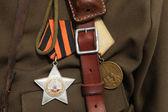 Soviet military decoration on uniform — Stock Photo