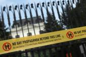 No gay propaganda beyond  line. — Stock Photo