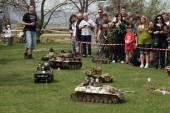 Battle of Bulge. Scale models re-enactment — Stock Photo