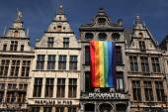 Rainbow flag in Antwerp, Belgium. — Stock Photo