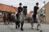 Easter Riders attend the Easter ceremonial equestrian procession — Stock Photo