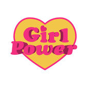Girl Power Heart Shaped Typographic Design Quote — Stock Photo