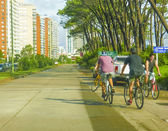 Men Riding Bycicles in a Street of Punta del Este — Stock Photo