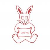 Cute Rabbit with I Love You Text Banner Drawing — Stock Photo