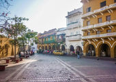 Colonial Style Street in Cartagena Colombia — Stock Photo