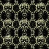 Skulls Motif Dark Seamless Pattern — Photo