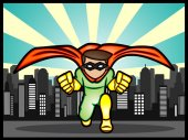 Superhero in the city — Stock Vector