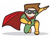 Little hero in action — Stock Vector