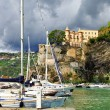 Scenic Amalfi coast - Minori village, view with yachts and castl — Stock Photo #55456949