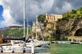 Scenic Amalfi coast - Minori village, view with yachts and castl — Stock Photo