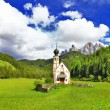 Alpine scenery - Dolomites, Val di funes, view with church — Photo #55495489
