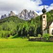 Alpine scenery - Dolomites, Val di funes, view with church — Photo #55497173