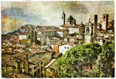 Medieval cities of Italy - Bergamo, artwork in painting style — Stock Photo